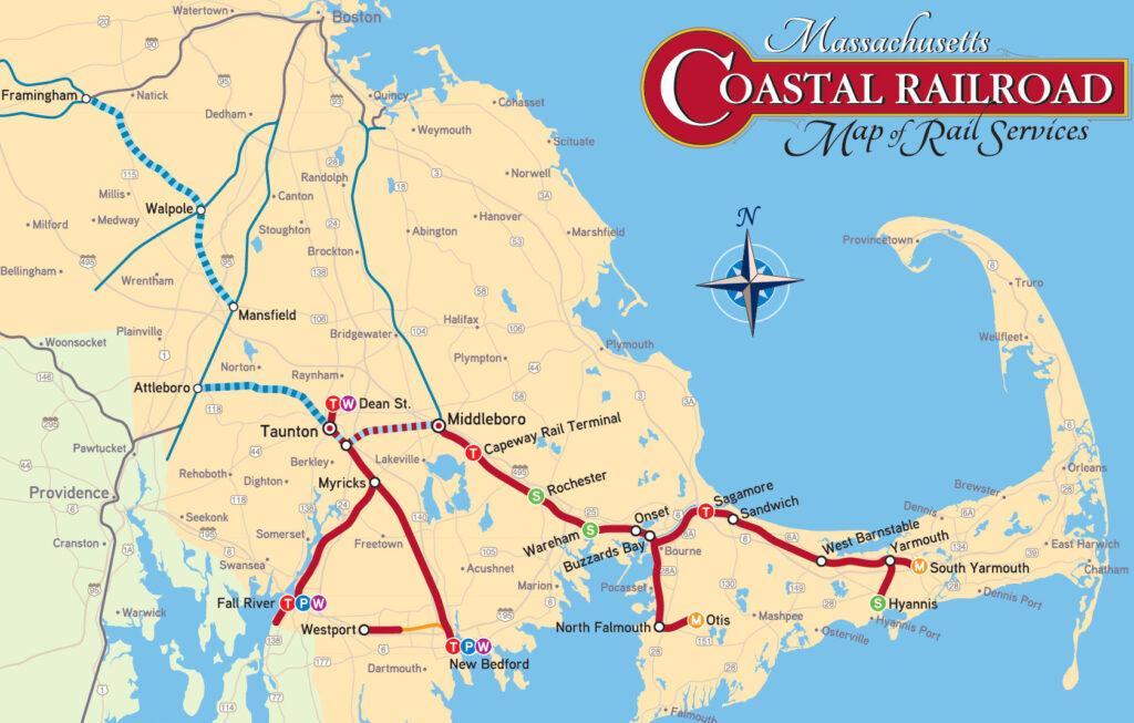 Massachusetts Coastal Railroad Map of Rail Services